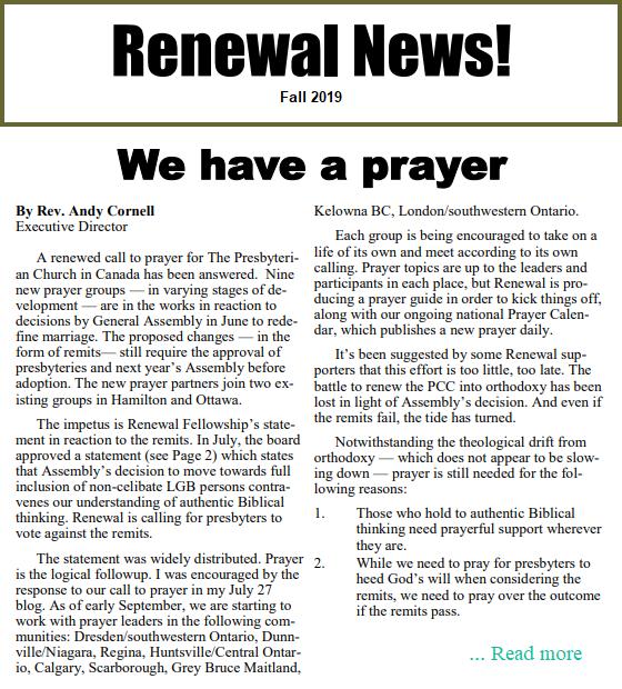 Renewal News Fall 2019